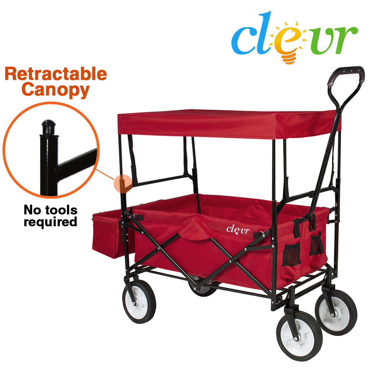 New Clevr Collapsible Foldable Outdoor Utility Wagon, Red Folding