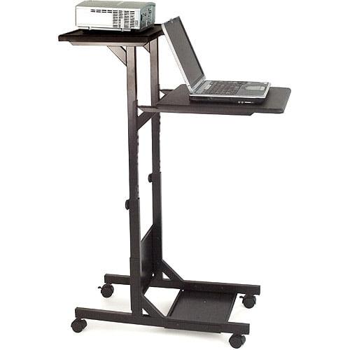 H. Wilson 3 Shelf Adjustable Height Presentation Station, Black