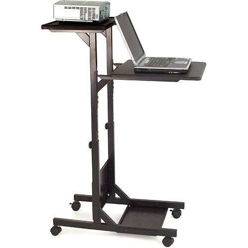 H. Wilson 3 Shelf Adjustable Height Presentation Station, Black