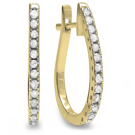 0.23 Carat (ctw) 10K Yellow Gold Round White Diamond Ladies Hoop Earrings 1/4 CT