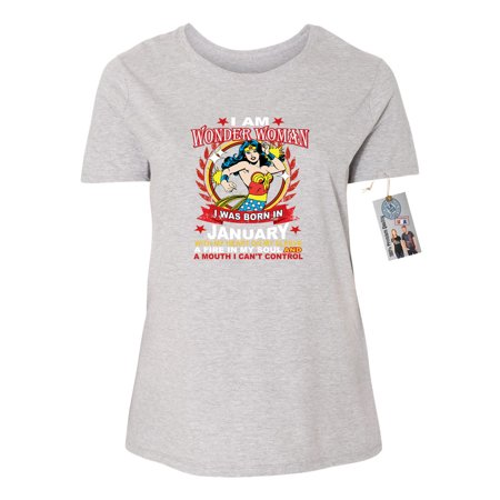 Wonder Woman Born In January Superhero Plus Size Womens Short Sleeve T-Shirt Top (Superhero T Shirts Plus Size)