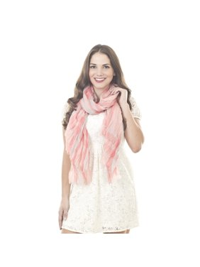 Saro Lifestyle Plaid Design Polyester Scarf Pink
