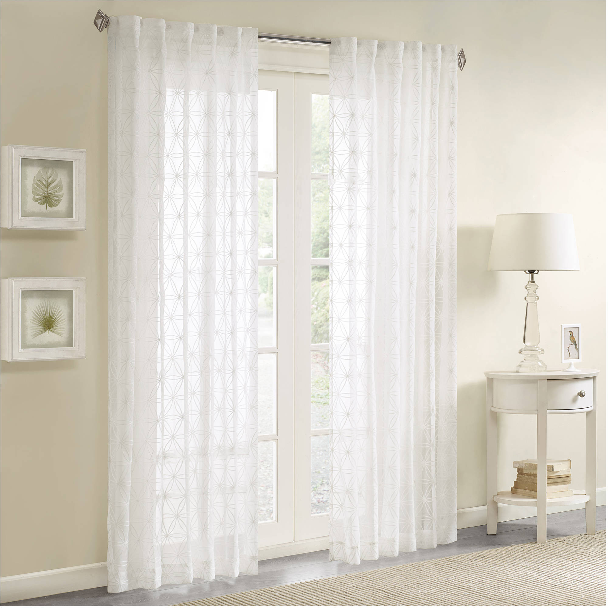 Home Essence Vera Sheer Embroidered Window Panel