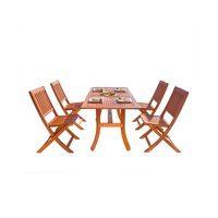 """5-Piece Brown Natural Wood Finish Curvy Leg Table Outdoor Furniture Patio Dining Set with Folding Chairs 59"""""""