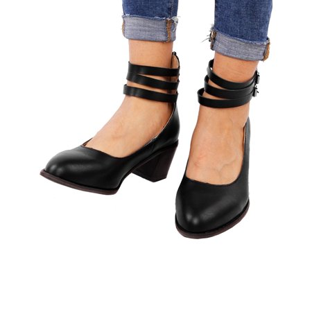 Women Low Block Pointed Toe Zip Ankle Strap Buckle Work Shoes Summer ()