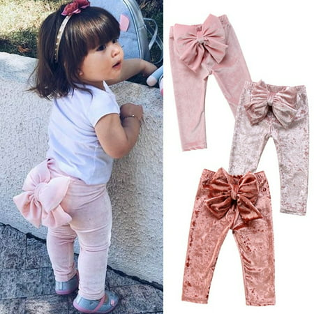 Fashion Kids Baby Girls Princess Bow Velvet Bottoms Long Pants Leggings Casual Trousers