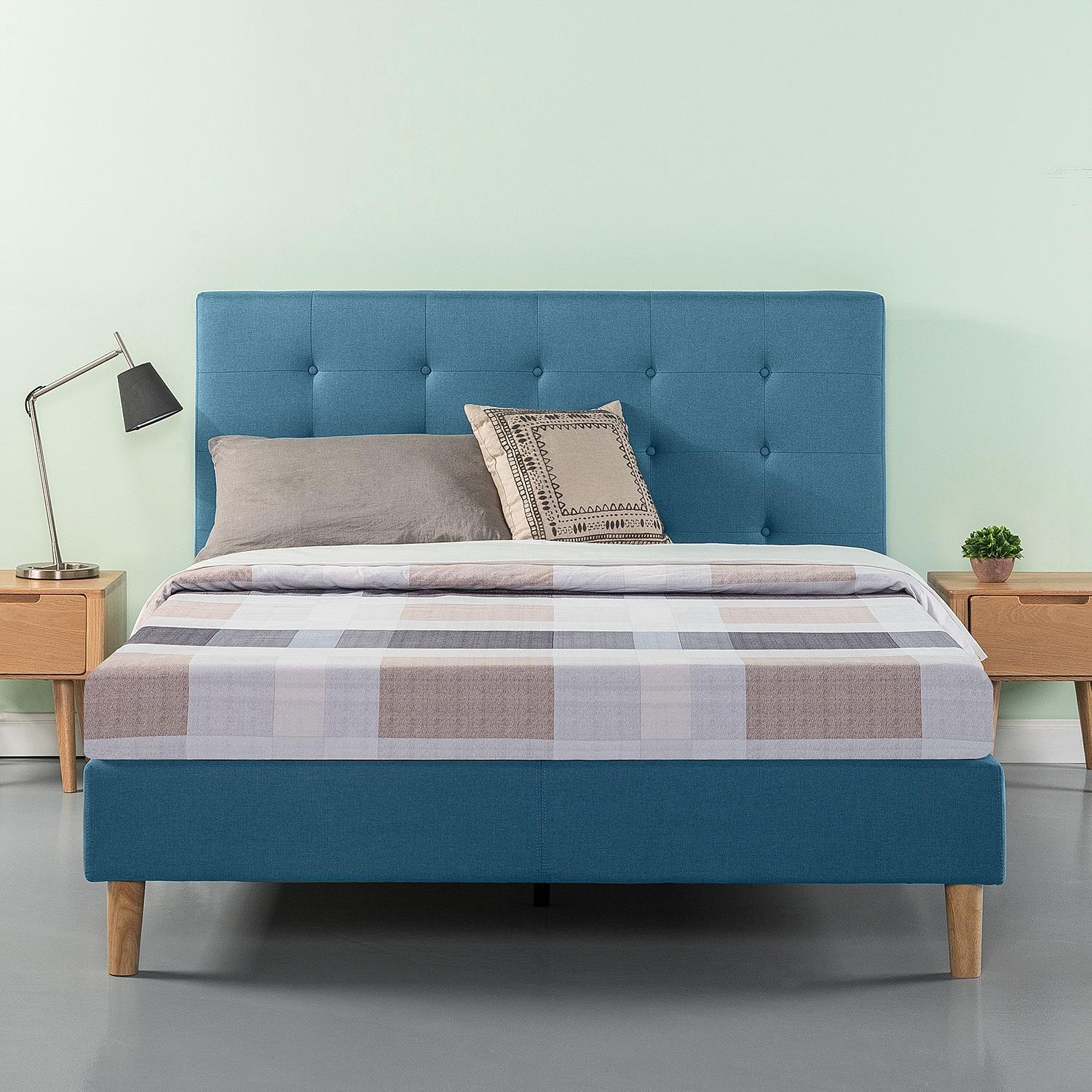 Zinus Button Tufted Platform Bed – Riverside Blue