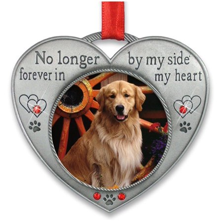 Pet Memorial Picture Ornament - No Longer By My Side - Heart Shaped Photo Frame Ornament - Loss of a Pet - Pet Sympathy - Heart Shaped Ornaments