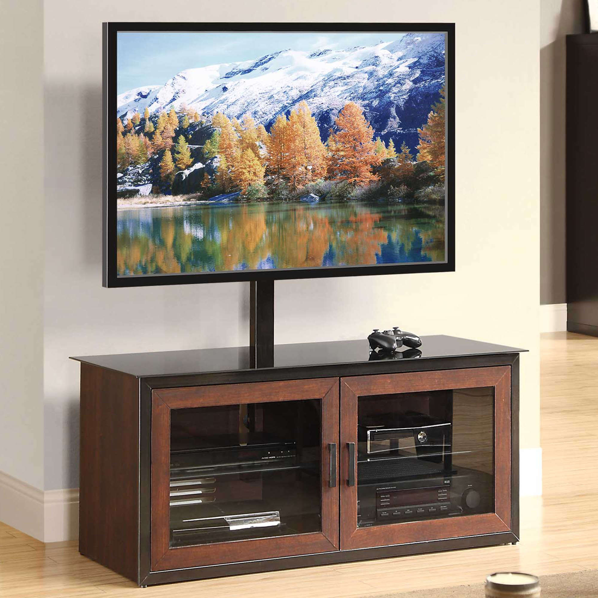 Whalen Brown Closed Door 3 In 1 Tv Stand For Tvs Up To 55