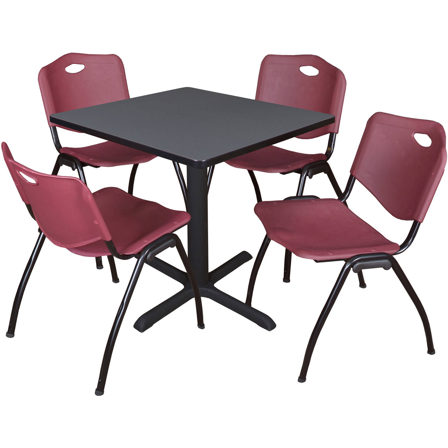 "Cain 30"" Grey Square Breakroom Table and 4 'M' Stack Chairs, Multiple Colors"
