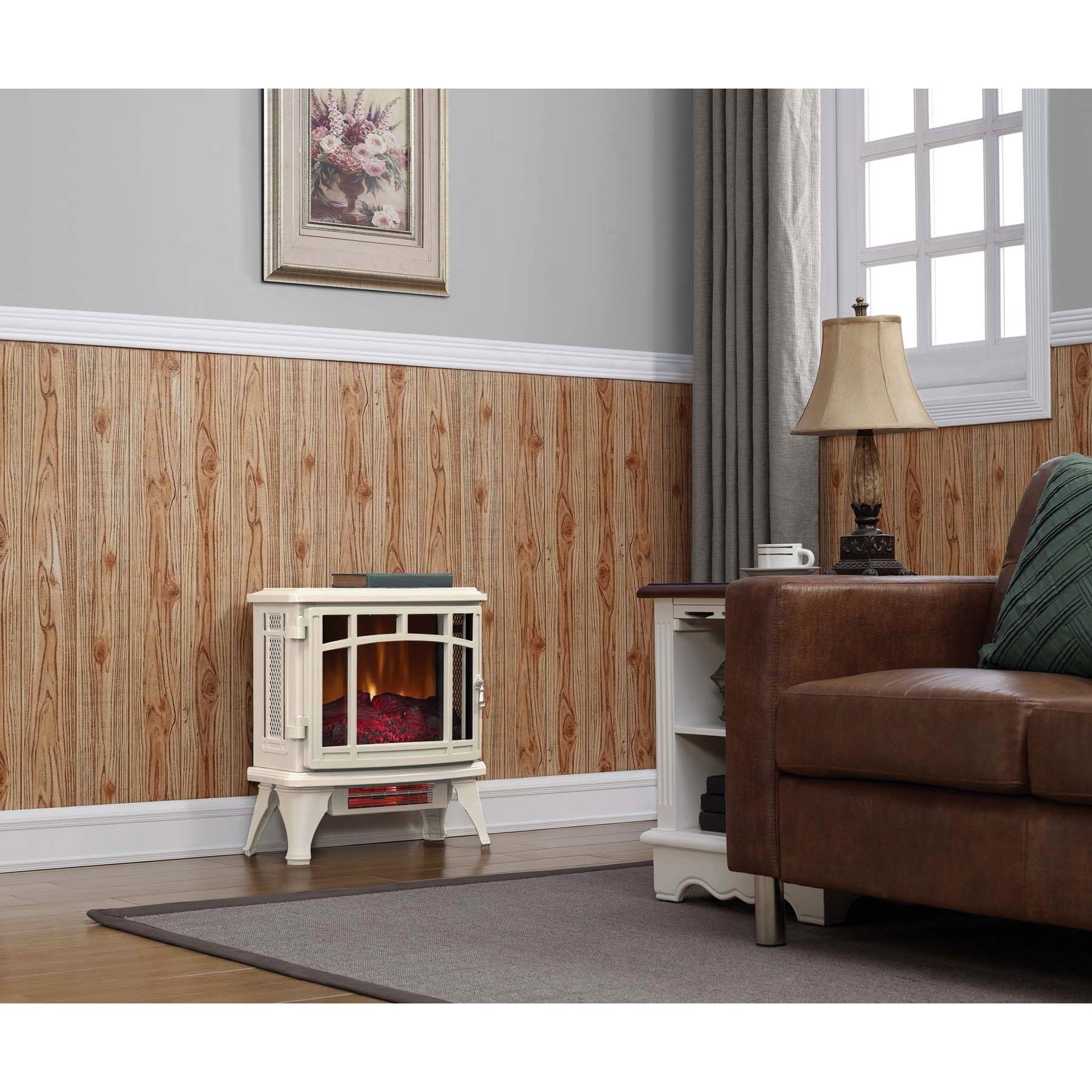 duraflame infrared quartz stove heater with flame effect cream