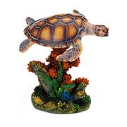 Penn Plax 7.25 in. Sea Turtle and Coral Aquarium Decor