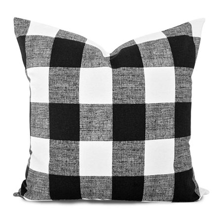 wendana Throw Pillow Cover, Home Decorative Linen Pillowcase, Black and White Buffalo Checkered Cushion Cover Gift' Or Decor For Home ,Kids, Girls, Teens, Father, Living Room, Wife ()