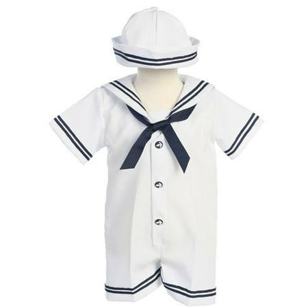 Baby Boys White Navy Sailor Romper Hat Outfit Set 3M-24M](Mens Sailor Outfit)