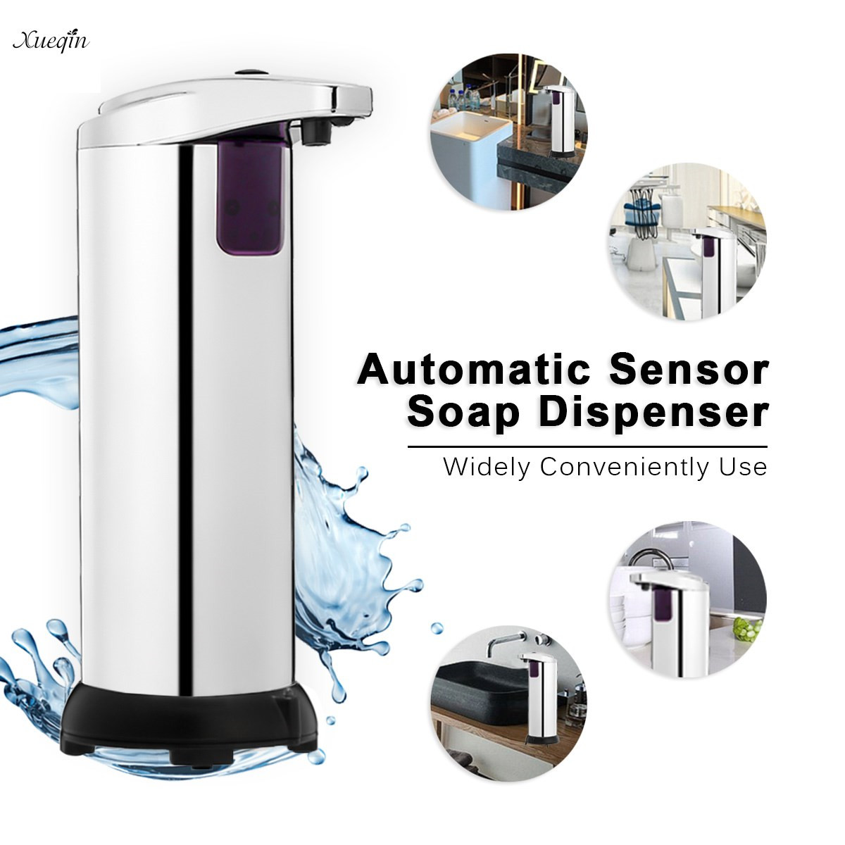 TAPCET Automatic Soap Dispenser IR Sensor Touchless Stainless Steel Hand Soap Dispenser Soap Dispenser Waterproof Base for Kitchen Bathroom, 280ML