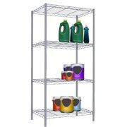 Home Basics 4-Tier Steel Wire Shelf, Grey