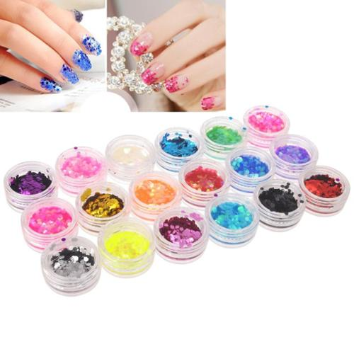 Zodaca 18 Color/Set Nail Art Big Hexagon Colorful Tips Acrylic DIY Decor Decoration Beautify Glitter Bling