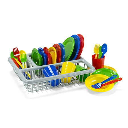 Kidzlane Durable Kids Play Dishes - Pretend Play Childrens Dish Set - 29 Piece with Drainer ()