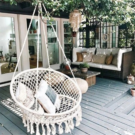 Patio Gift - Hanging Hammock Mesh Woven Rope Macrame Wooden Bar Chair Swing Outdoor Home Garden Patio Chair Seat + Install Tool Home Decor Gift