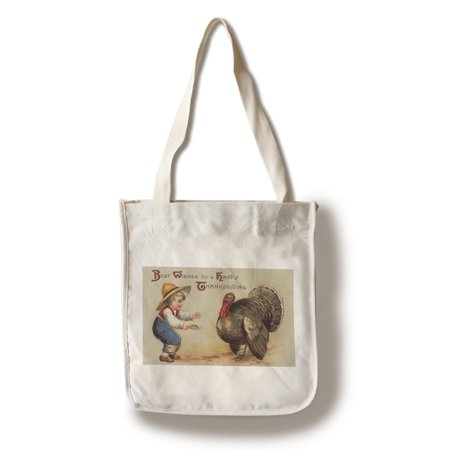 Best Wishes for a Happy Thanksgiving - Boy Feeding Turkey (100% Cotton Tote Bag -