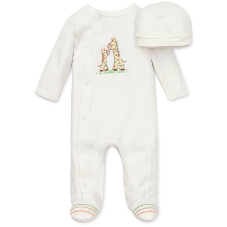 Giraffe Friend Snap Front Footie Pajamas with Hat For Baby Boys Sleep N Play One Piece Romper Coverall Cotton Infant Footed Sleeper; Pijamas Para Bebes- Ivory / Off-White - 6 - Disfraces Halloween Para Bebes