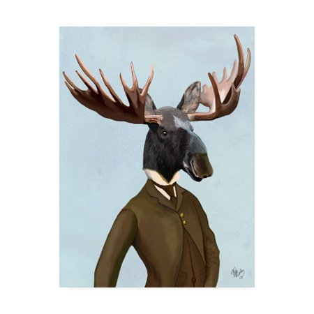 Trademark Fine Art 'Moose In Suit, Portrait' Canvas Art by Fab Funky (Moose Portrait)