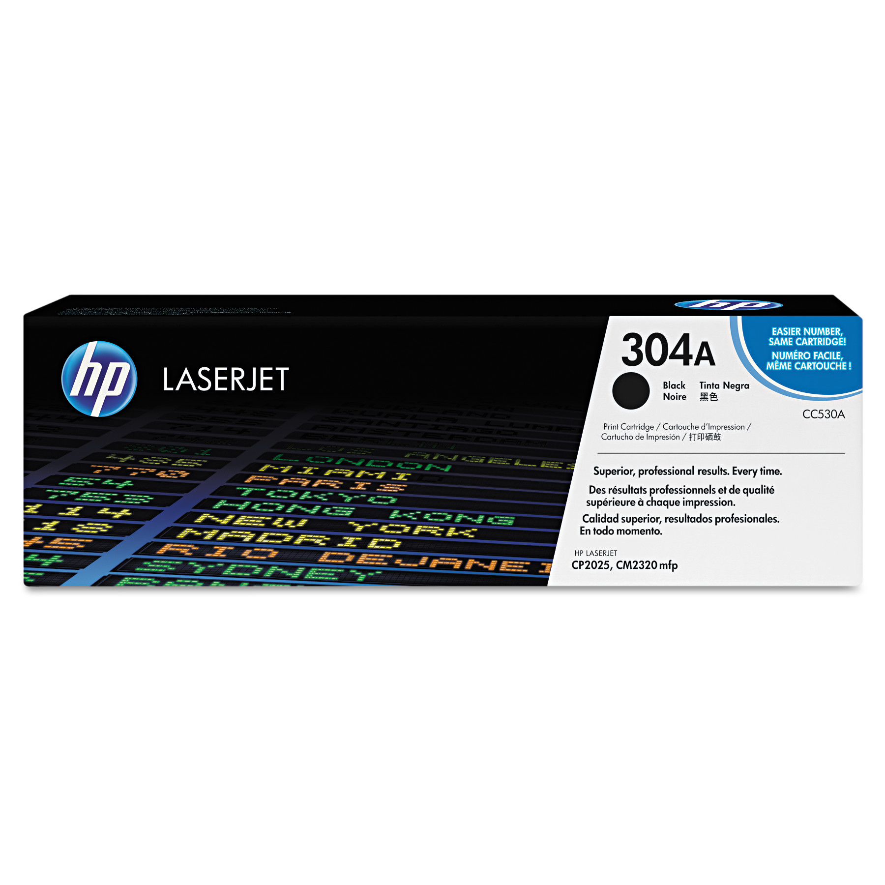 HP 304A, (CC530A) Black Original LaserJet Toner Cartridge -HEWCC530A
