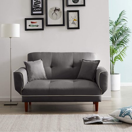 Convertible Futon Sofa Bed with 2 Pillows,Twin Size Sleeper Sofa Futon Couch,Recliner Couch with Adjustable Armrest and Wood Legs,Living Room Sofa with 5-Angle Backrest for Small Space(Gray)