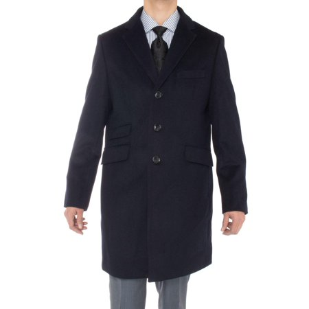 Luciano Natazzi Men's Cashmere Topcoat Modern Ticket Pocket Trench Coat Overcoat Navy Blue