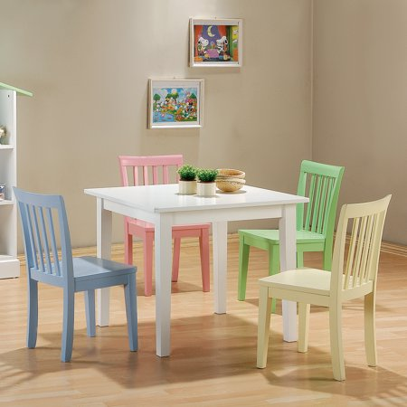 Coaster Youth Table and Chair Set, 5-Piece, Pastel