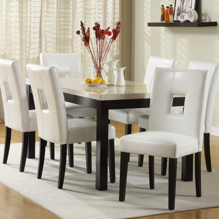 Chelsea Lane Archibald 7 Piece White Dining Set 60 In
