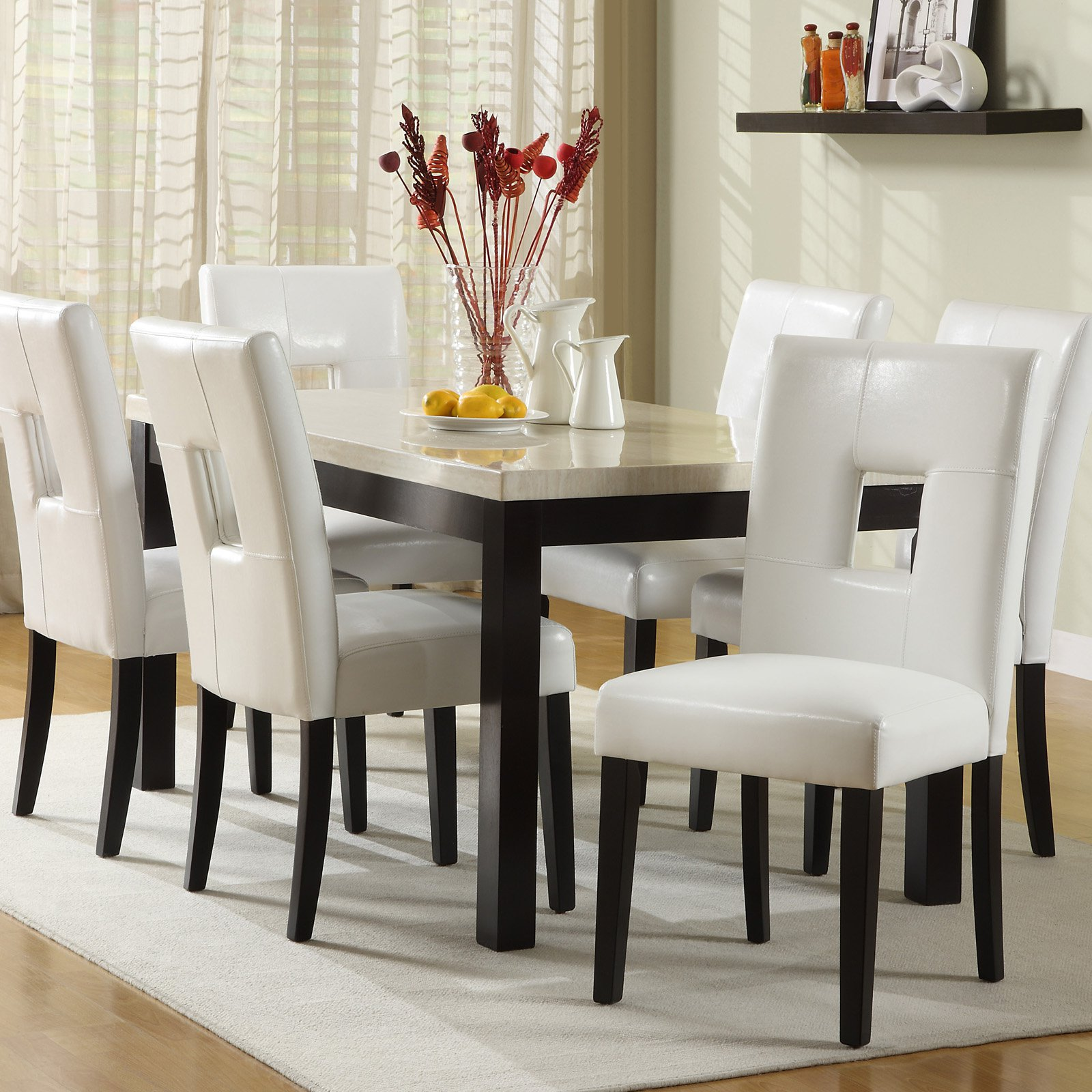 Chelsea Lane Archibald 7 Piece White Dining Set   60 In.