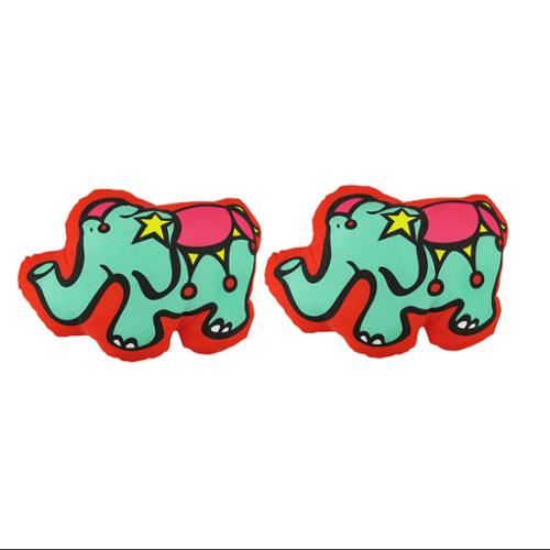 Pair of Happy House Colorful Circus Elephant Throw Pillows