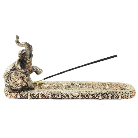 Figurine Incense Burner (Gold Elephant Buddha Wraps Incense Burner Holder Lucky Figurine Home Decor Gift )