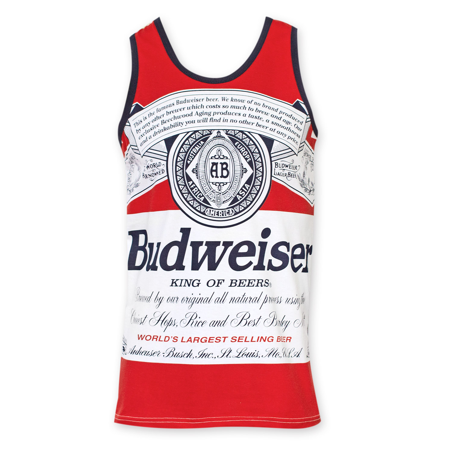 Budweiser Men's Red Bottle Label Tank Top