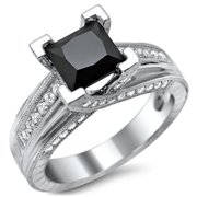 Noori Collection Noori 14k White Gold 2ct TDW Certified Black Princess Cut Diamond Engagement Ring