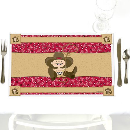 Little Cowboy - Party Table Decorations - Western Baby Shower or Birthday Party Placemats - Set of - Western Baby Shower