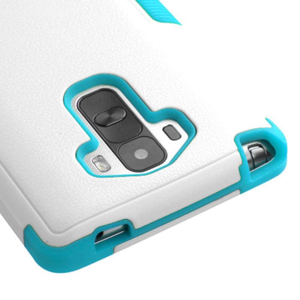 Insten Tuff Hard Dual Layer Rubber Silicone Cover Case For LG G Stylo - White/Blue - image 2 de 3
