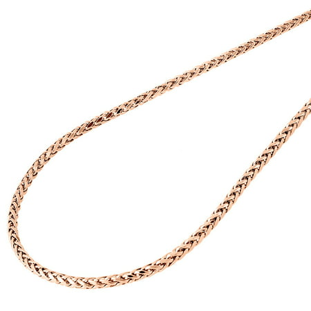 Mens Ladies 10K Rose Gold 2.5MM Rounded Palm Wheat Chain Necklace 18 Inches