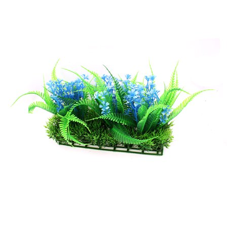 Plastic Underwater Green Blue Grass Plant Decoration For Fishbowl Fish Tank