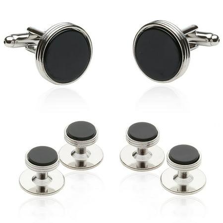 Emerald Stud Cufflinks - Onyx & Silver Tuxedo Cufflinks & Stud Set