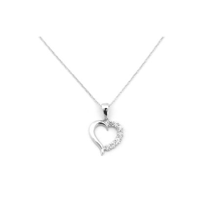 14k White or Yellow Gold Cubic Zirconia Small Open Heart Pendant Necklace - 13 15 16 18 20 22