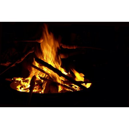 Canvas Print Stick Bread Fire Lighting Campfire Burn Flame Stretched Canvas 10 x