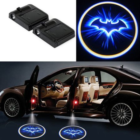 2x Batman Door Welcome Projector Logo Wireless Blue LED Ghost Shadow light Car
