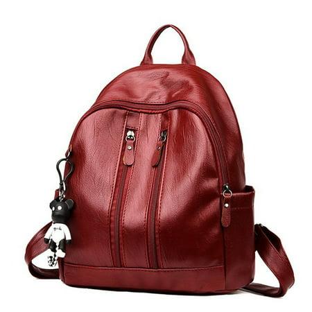 d156d2c9900 Women Girls Backpack Waterproof PU Leather Anti-theft Rucksack ...