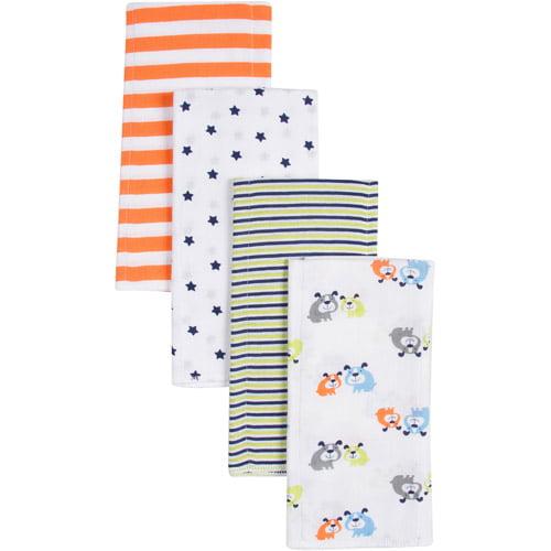 Gerber Boy Print Prefold Diaper Burp Cloths, 4 count
