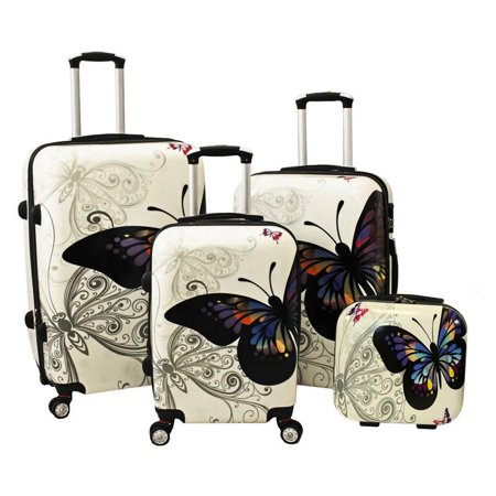 World Traveler Butterfly 4 Piece Hardside TSA Combination Lock Spinner Luggage Set - Butterfly