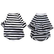 Iconic Pet Pretty Pet Black and White Striped Top, Medium
