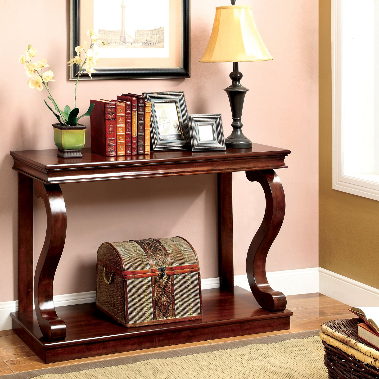 Furniture of America Edinburg S-Shaped Base Console Table - Cherry