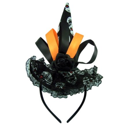 Black Witch Hat with Skulls and Lace Details Halloween (Mickey's Halloween Party Details)